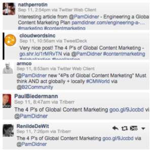 Global Content Marketing Book Launch Tweets