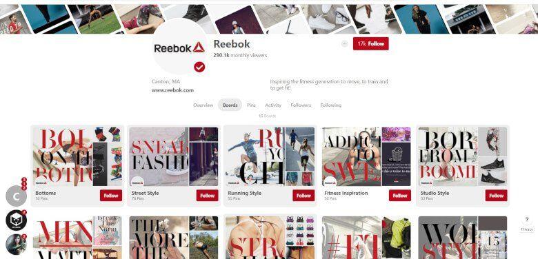 Reebok Marketing Pinterest