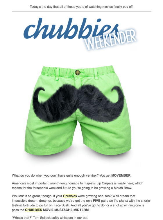 Chubbies Marketing email