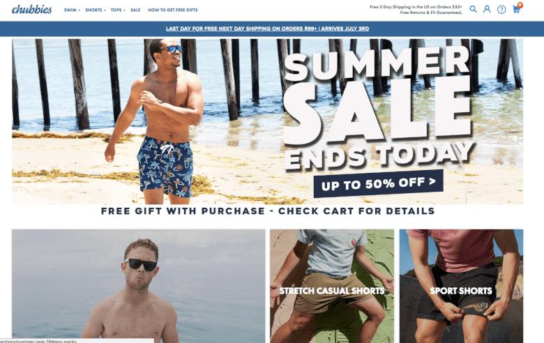 Chubbies Marketing website
