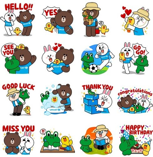 Line sticker examples of characters in action